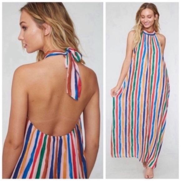 Kala Vella Dresses & Skirts - Striped Halter Maxi Dress
